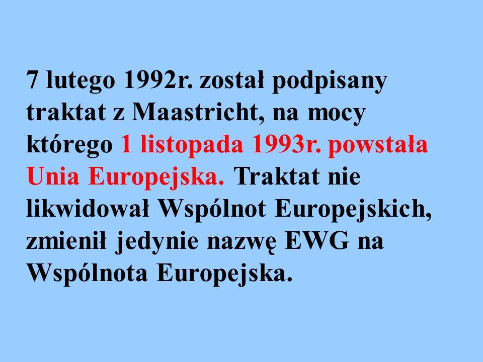 7 lutego 1992r. został podpisany traktat z Maastricht, na mocy którego 1 listopada 1993r.