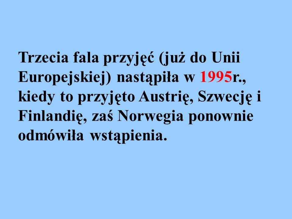 Trzecia fala przyjęć (już do Unii Europejskiej) nastąpiła w 1995r