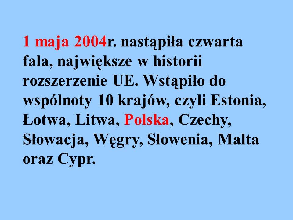 1 maja 2004r. nastąpiła czwarta fala, największe w historii rozszerzenie UE.