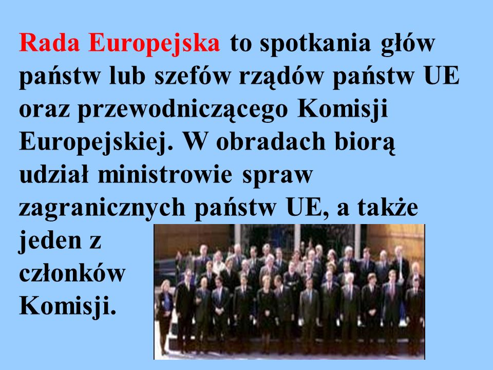 Rada Europejska to spotkania głów państw lub szefów rządów państw UE oraz przewodniczącego Komisji Europejskiej. W obradach biorą udział ministrowie spraw zagranicznych państw UE, a także jeden z