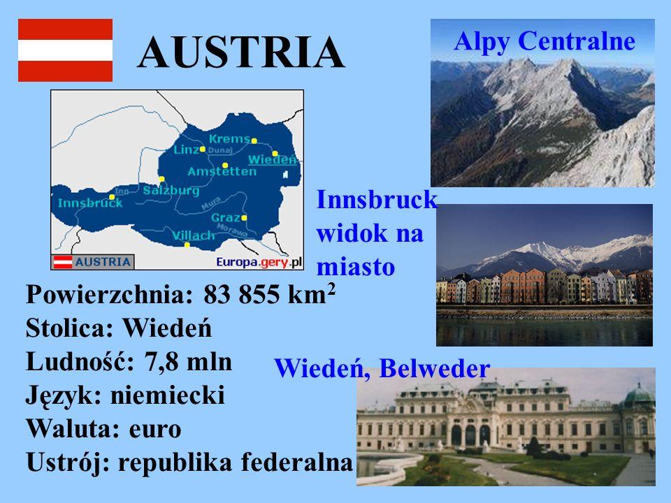 AUSTRIA Alpy Centralne Innsbruck widok na miasto