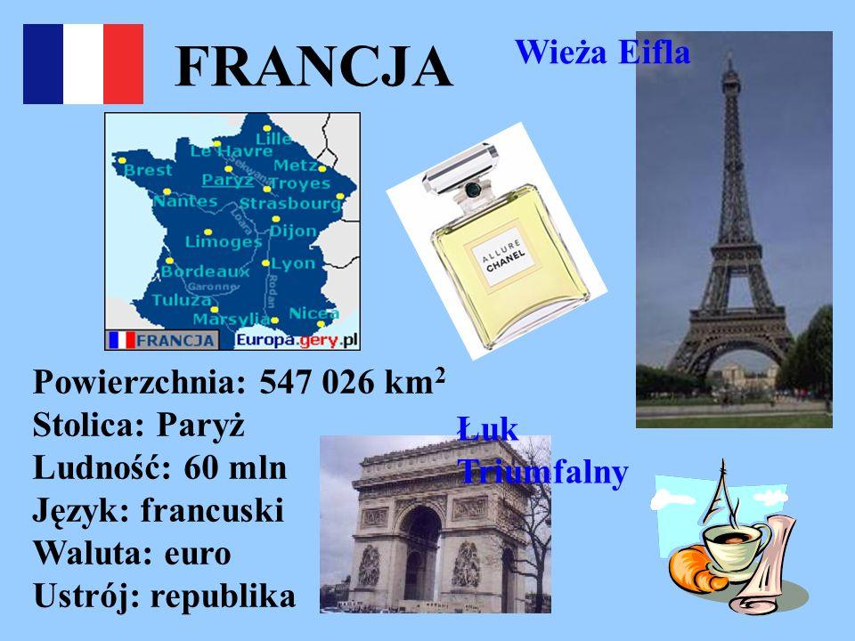 FRANCJA Wieża Eifla. Powierzchnia: 547 026 km2 Stolica: Paryż Ludność: 60 mln Język: francuski Waluta: euro Ustrój: republika.