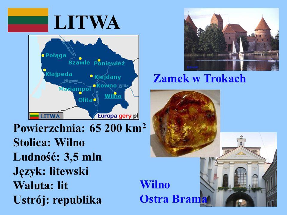 LITWA Zamek w Trokach. Powierzchnia: 65 200 km2 Stolica: Wilno Ludność: 3,5 mln Język: litewski Waluta: lit Ustrój: republika.