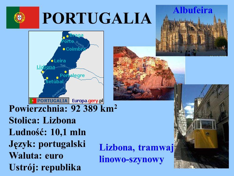 Albufeira PORTUGALIA. Powierzchnia: 92 389 km2 Stolica: Lizbona Ludność: 10,1 mln Język: portugalski Waluta: euro Ustrój: republika.