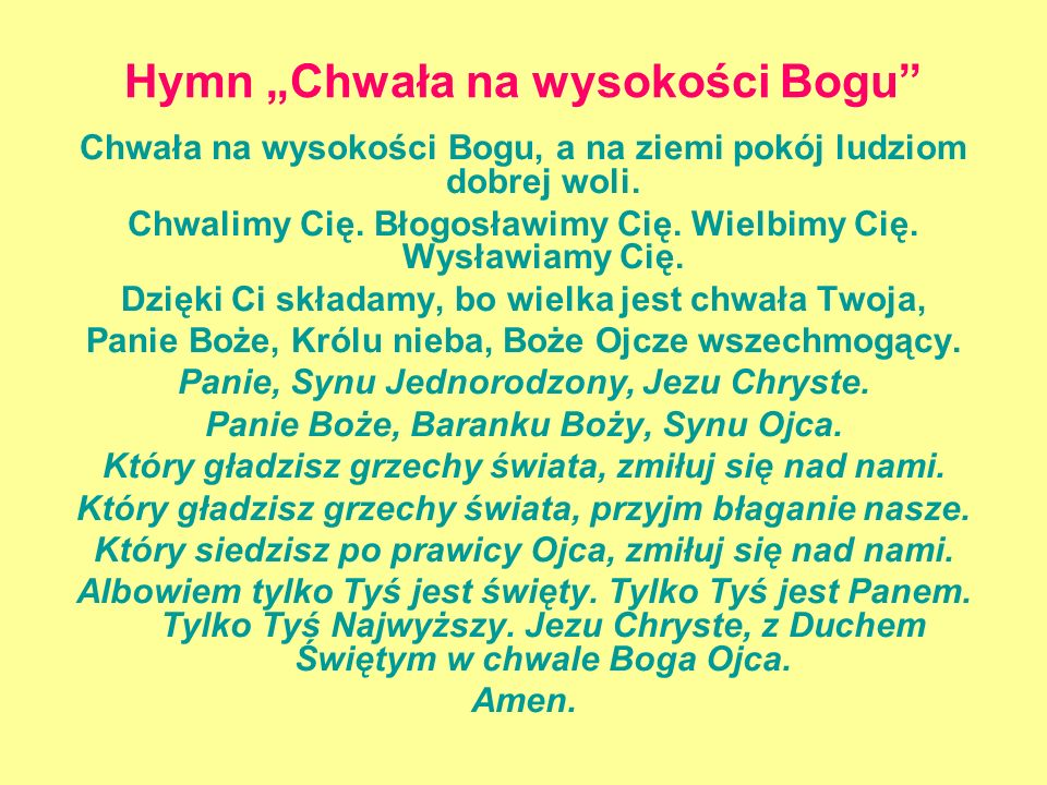 """Hymn """"Chwała na wysokości Bogu"""