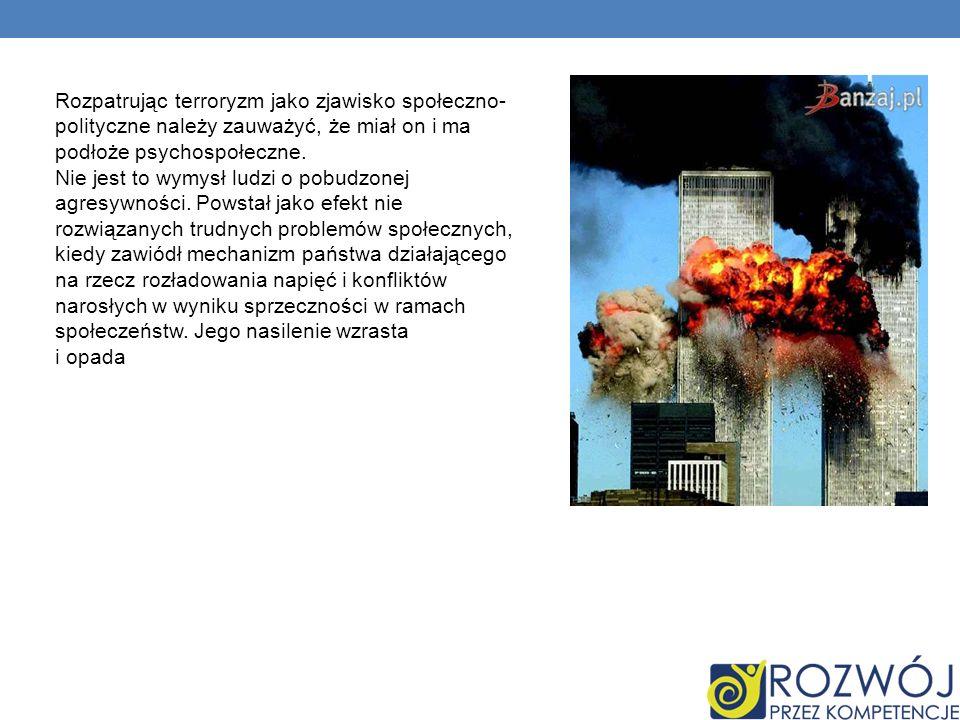 Rozpatrując terroryzm jako zjawisko społeczno-polityczne należy zauważyć, że miał on i ma podłoże psychospołeczne.