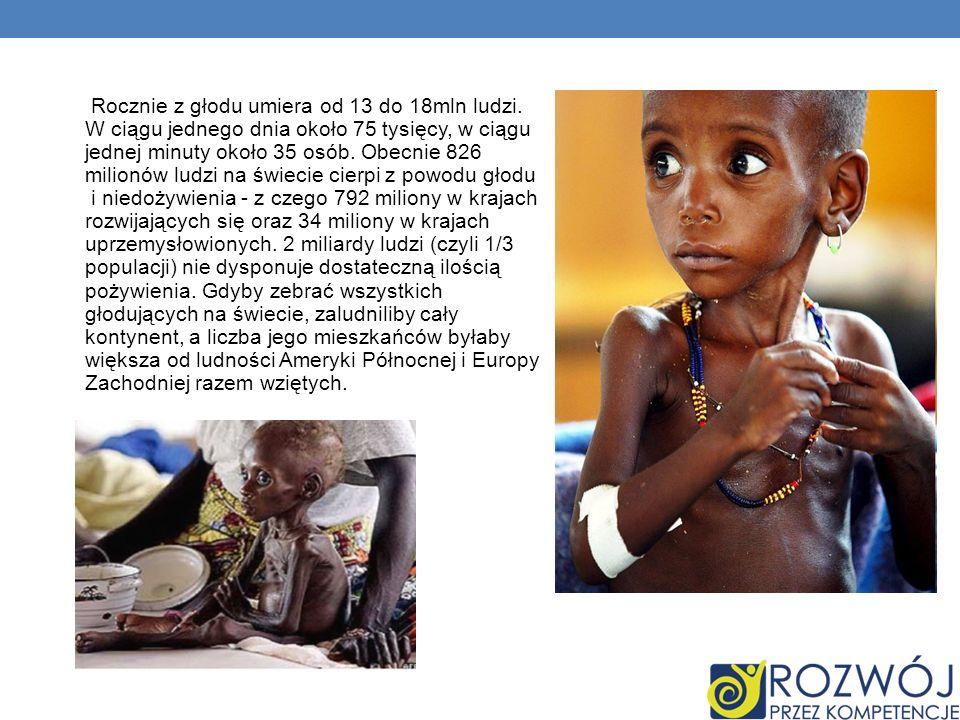 Rocznie z głodu umiera od 13 do 18mln ludzi