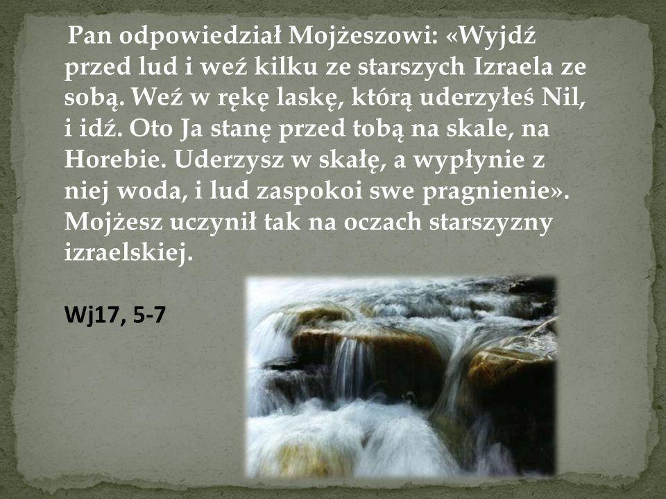 Pan odpowiedział Mojżeszowi: «Wyjdź przed lud i weź kilku ze starszych Izraela ze sobą. Weź w rękę laskę, którą uderzyłeś Nil, i idź. Oto Ja stanę przed tobą na skale, na Horebie. Uderzysz w skałę, a wypłynie z niej woda, i lud zaspokoi swe pragnienie». Mojżesz uczynił tak na oczach starszyzny izraelskiej.