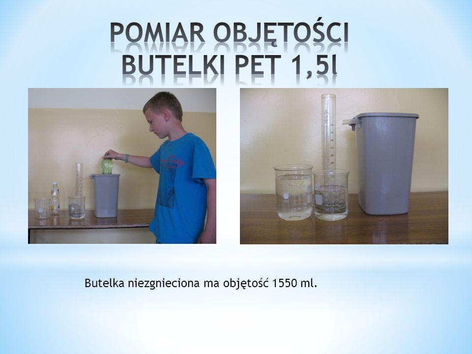 POMIAR OBJĘTOŚCI BUTELKI PET 1,5l