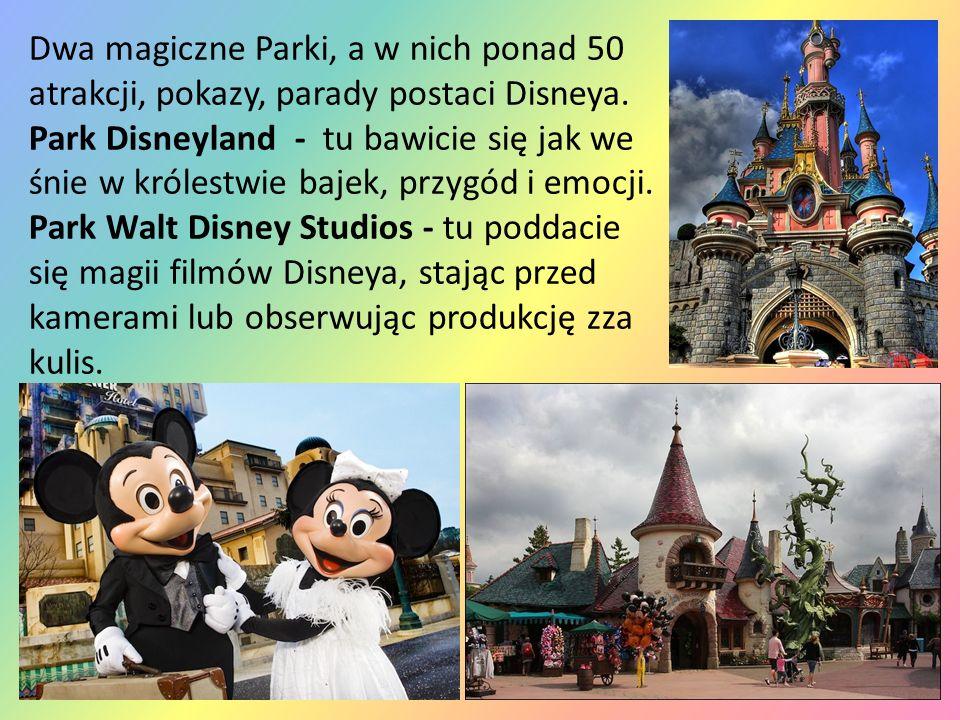 Dwa magiczne Parki, a w nich ponad 50 atrakcji, pokazy, parady postaci Disneya.