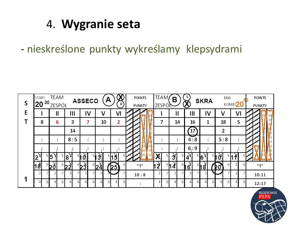 4. Wygranie seta nieskreślone punkty wykreślamy klepsydrami √ √ √ √ √