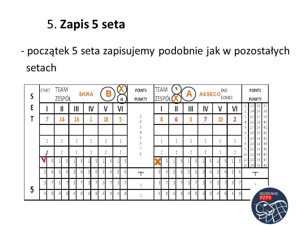5. Zapis 5 seta- początek 5 seta zapisujemy podobnie jak w pozostałych setach X. S. B. A. SKRA. ASSECO.