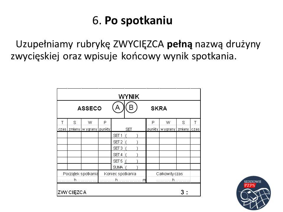 6. Po spotkaniuUzupełniamy rubrykę ZWYCIĘZCA pełną nazwą drużyny zwycięskiej oraz wpisuje końcowy wynik spotkania.