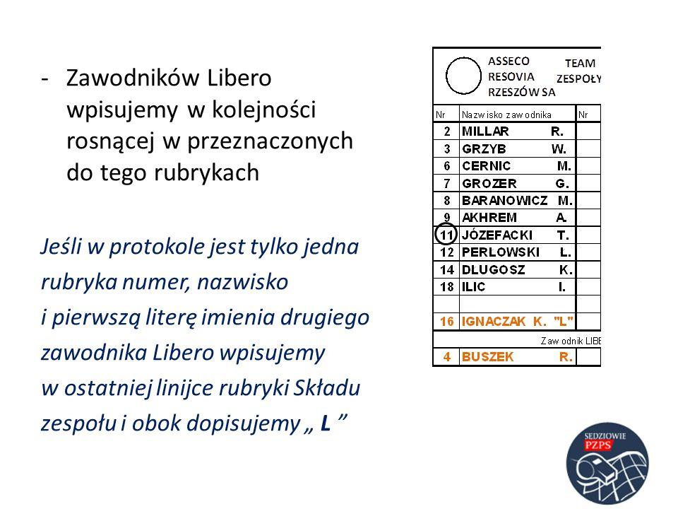 Zawodników Libero wpisujemy w kolejności rosnącej w przeznaczonych do tego rubrykach