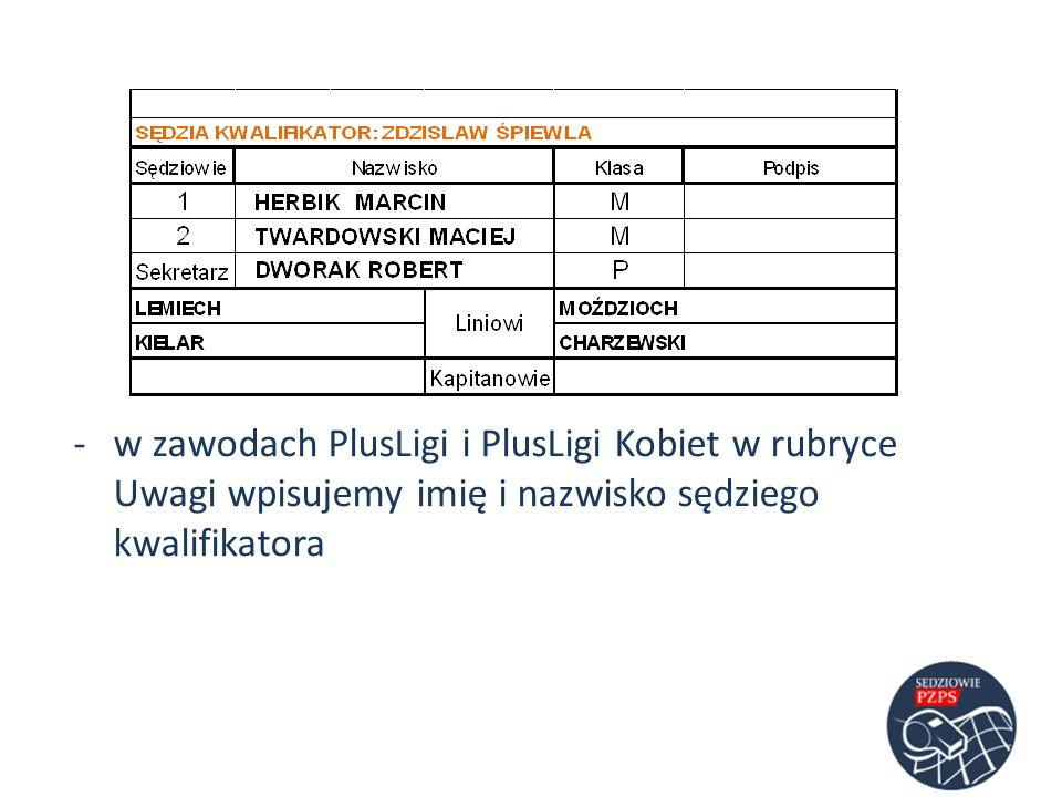 w zawodach PlusLigi i PlusLigi Kobiet w rubryce Uwagi wpisujemy imię i nazwisko sędziego kwalifikatora