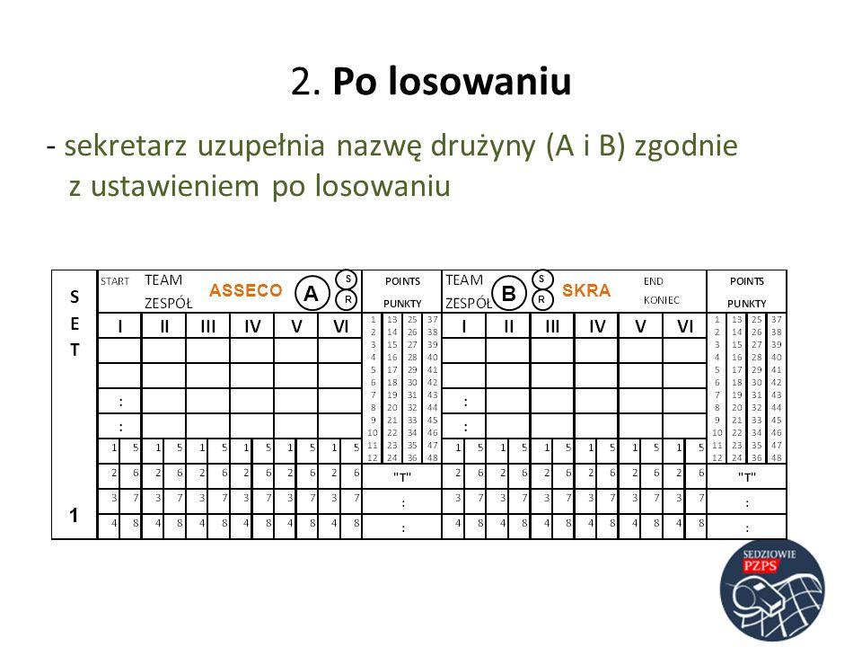 2. Po losowaniu sekretarz uzupełnia nazwę drużyny (A i B) zgodnie z ustawieniem po losowaniu. S.