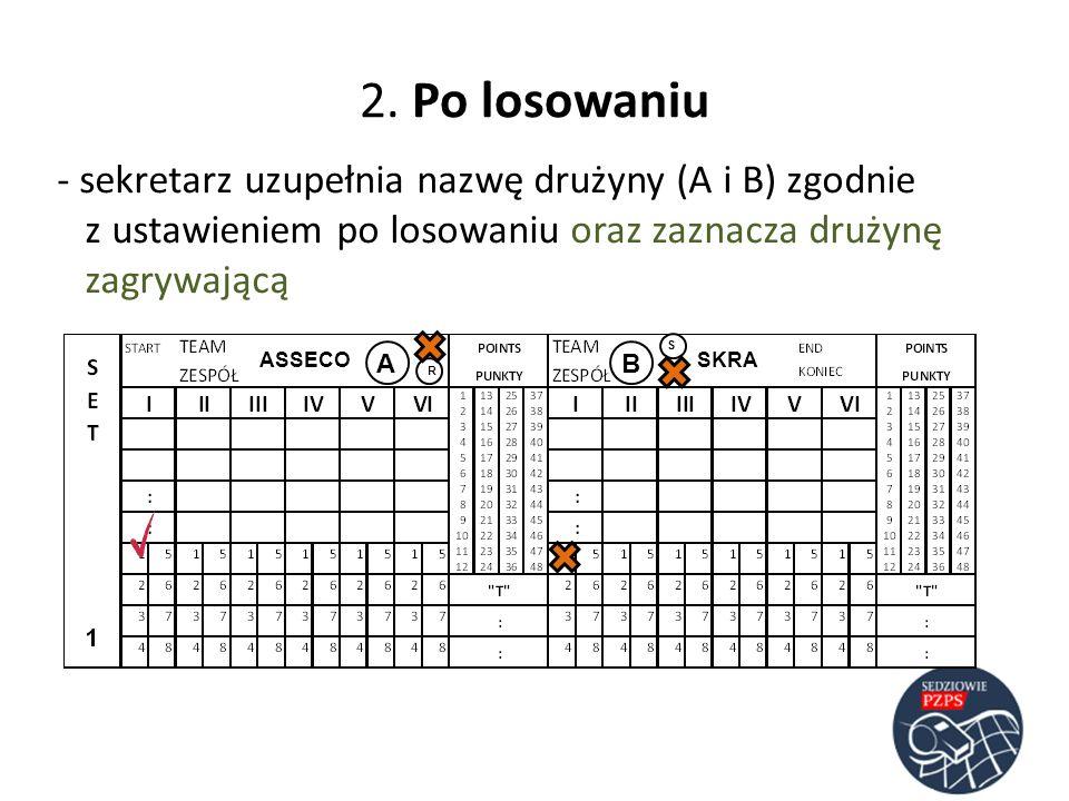 2. Po losowaniu sekretarz uzupełnia nazwę drużyny (A i B) zgodnie z ustawieniem po losowaniu oraz zaznacza drużynę zagrywającą.
