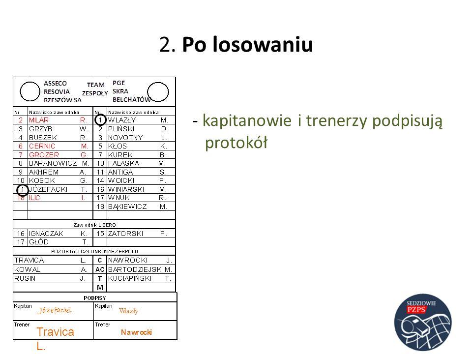 2. Po losowaniu kapitanowie i trenerzy podpisują protokół Travica L.