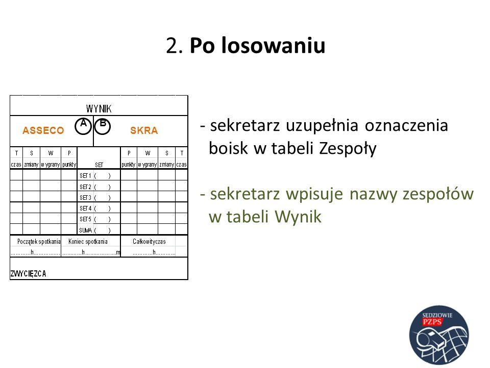 2. Po losowaniu sekretarz uzupełnia oznaczenia boisk w tabeli Zespoły