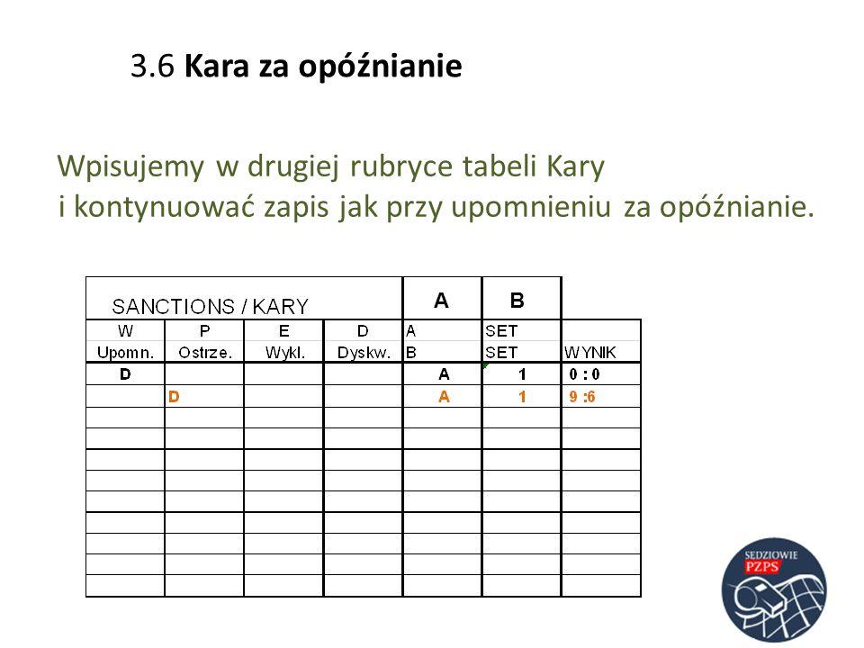3.6 Kara za opóźnianieWpisujemy w drugiej rubryce tabeli Kary i kontynuować zapis jak przy upomnieniu za opóźnianie.