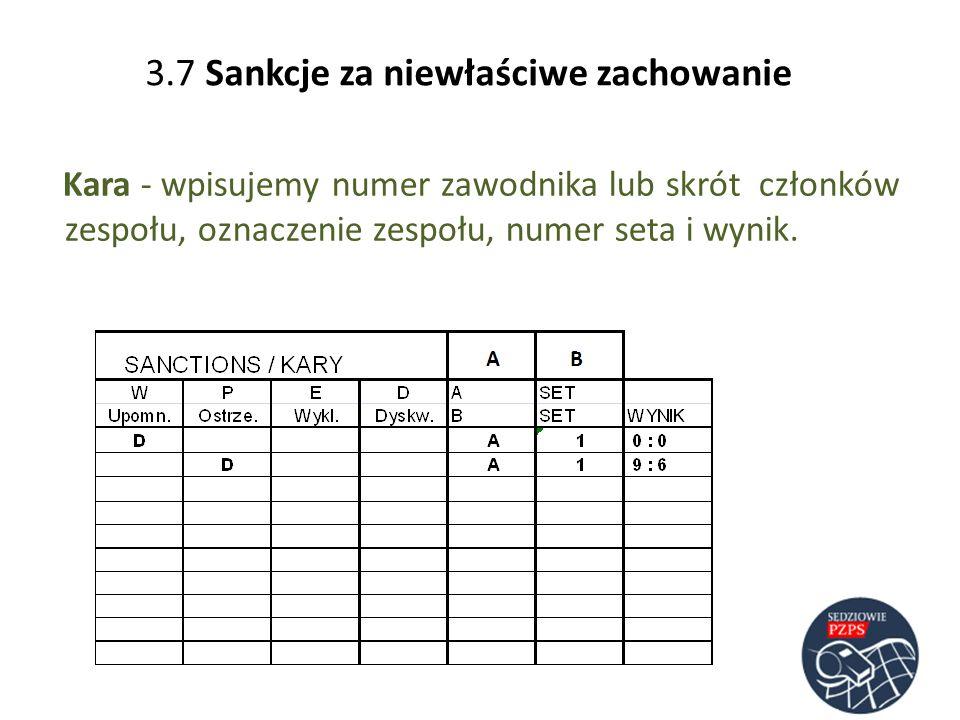 3.7 Sankcje za niewłaściwe zachowanie
