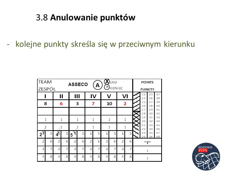 3.8 Anulowanie punktów kolejne punkty skreśla się w przeciwnym kierunku X ASSECO A R √ √ √ 2 4 5
