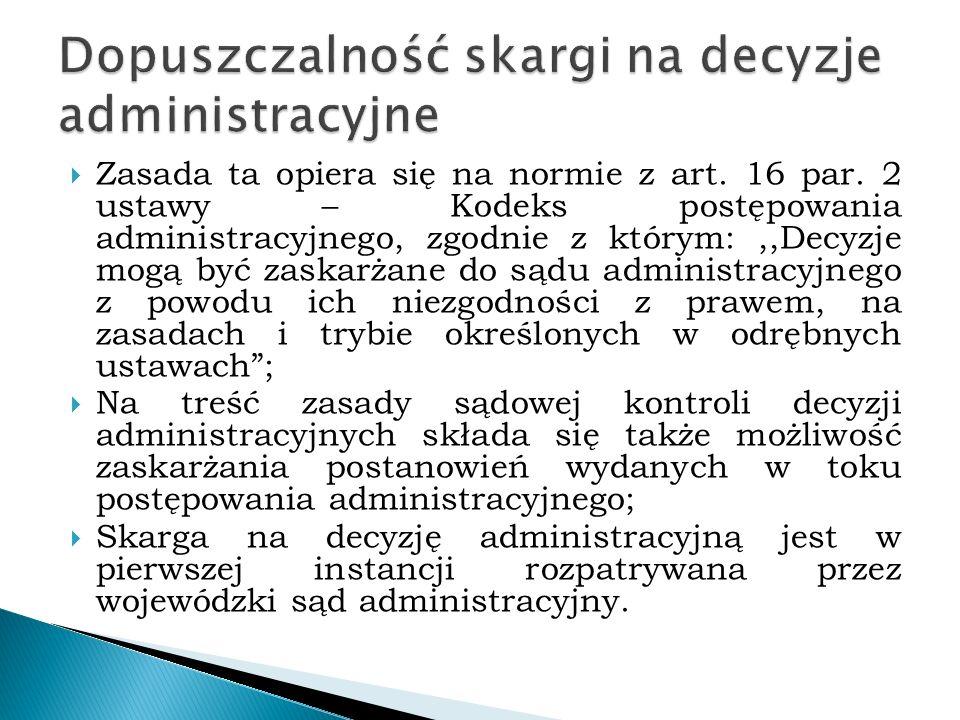 Dopuszczalność skargi na decyzje administracyjne