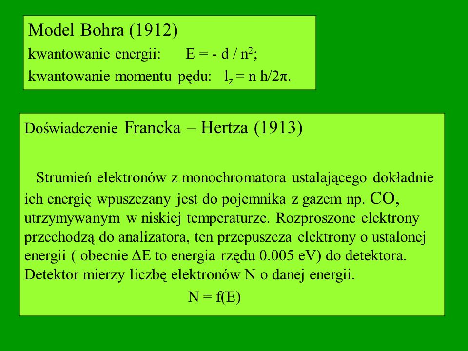 Model Bohra (1912) kwantowanie energii: E = - d / n2;