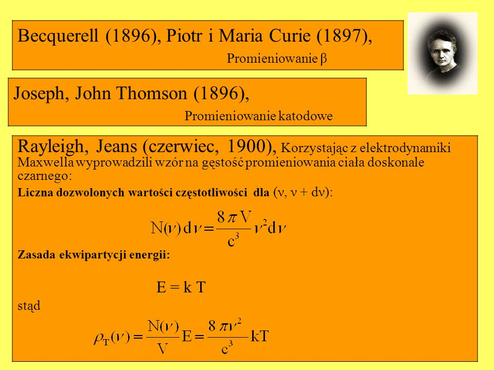 Becquerell (1896), Piotr i Maria Curie (1897),