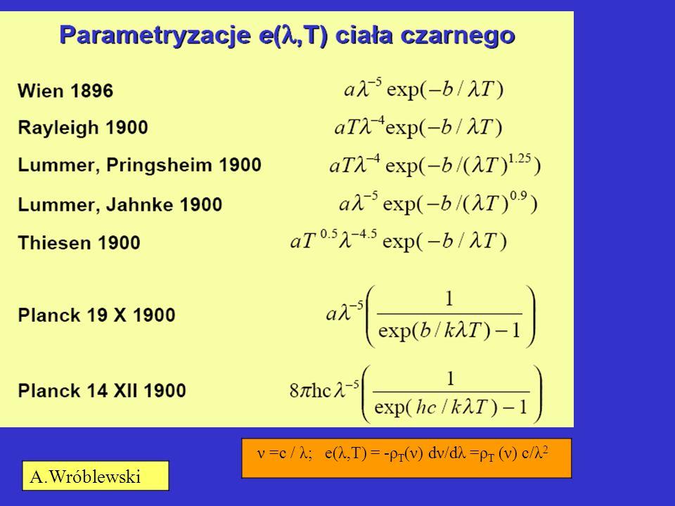 ν =c / λ; e(λ,T) = -ρT(ν) dν/dλ =ρT (ν) c/λ2