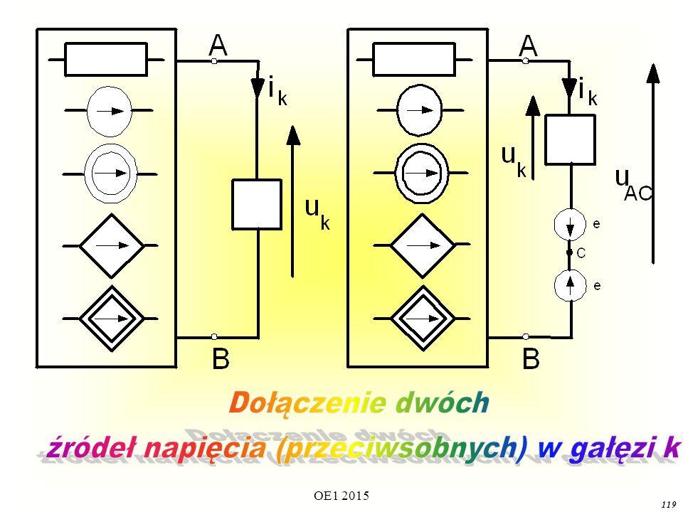 źródeł napięcia (przeciwsobnych) w gałęzi k