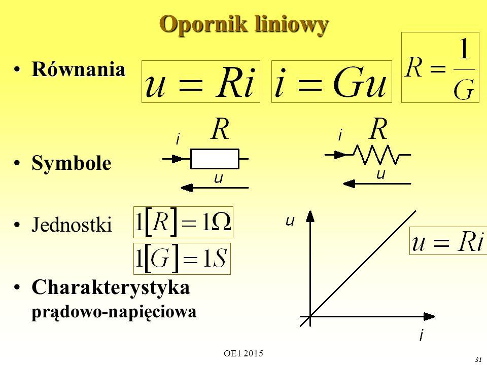 Opornik liniowy Równania Symbole Jednostki