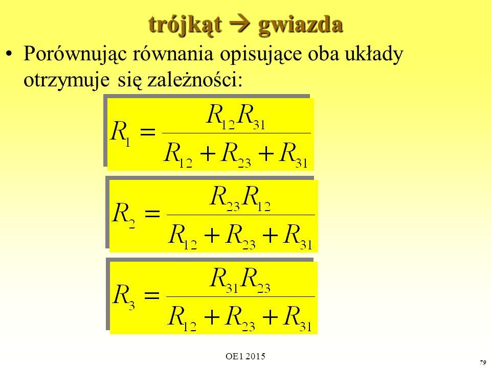 trójkąt  gwiazda Porównując równania opisujące oba układy otrzymuje się zależności: OE1 2015
