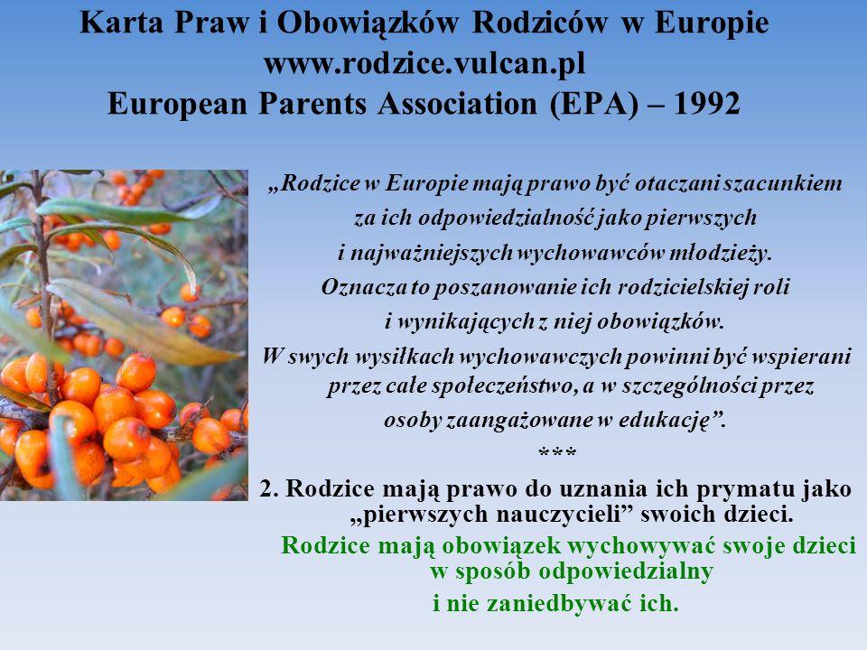 Karta Praw i Obowiązków Rodziców w Europie www. rodzice. vulcan
