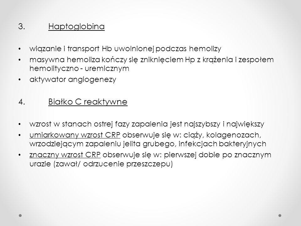 3. Haptoglobina 4. Białko C reaktywne