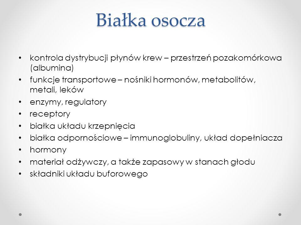 Białka osocza kontrola dystrybucji płynów krew – przestrzeń pozakomórkowa (albumina)