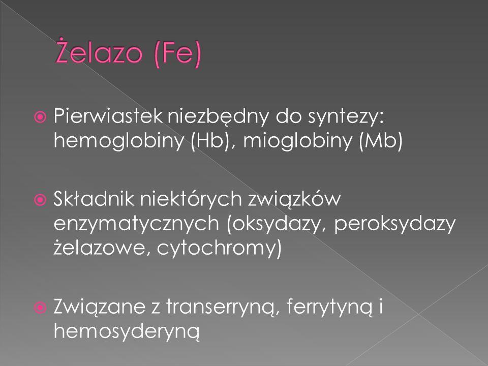 Żelazo (Fe) Pierwiastek niezbędny do syntezy: hemoglobiny (Hb), mioglobiny (Mb)