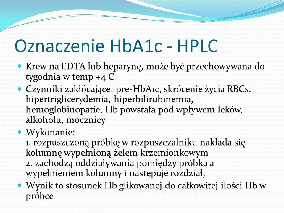 Oznaczenie HbA1c - HPLC Krew na EDTA lub heparynę, może być przechowywana do tygodnia w temp +4 C.