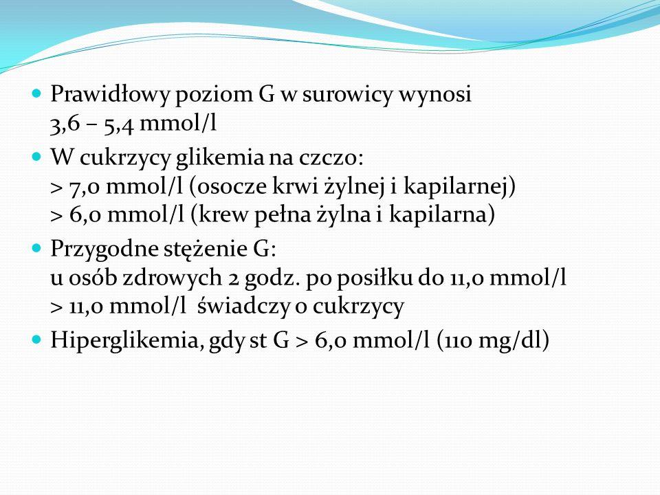 Prawidłowy poziom G w surowicy wynosi 3,6 – 5,4 mmol/l