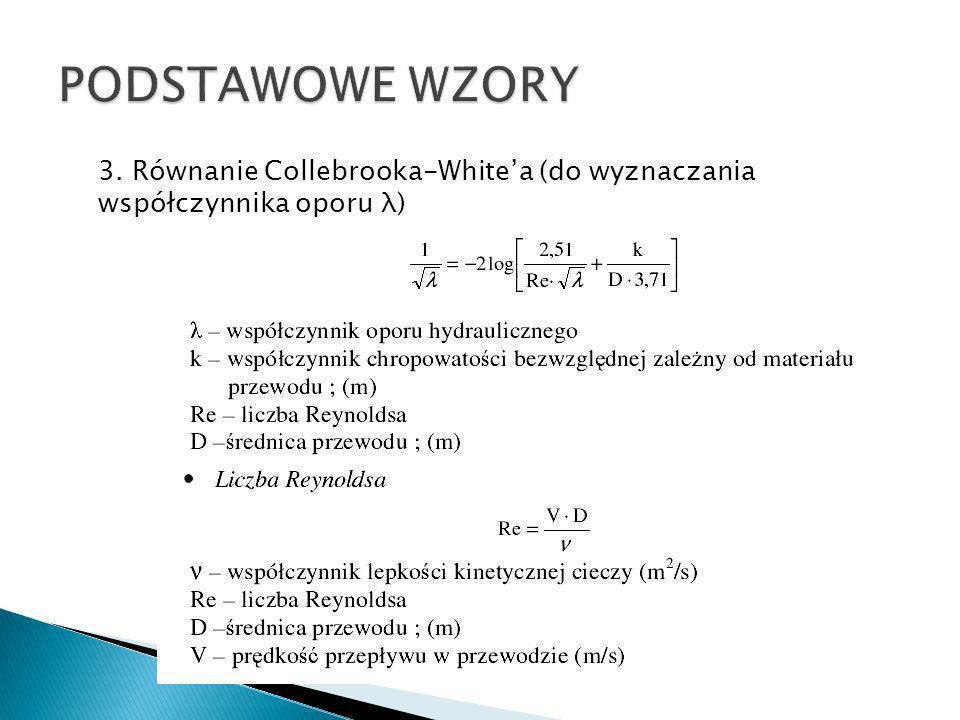 PODSTAWOWE WZORY 3. Równanie Collebrooka-White'a (do wyznaczania współczynnika oporu λ)