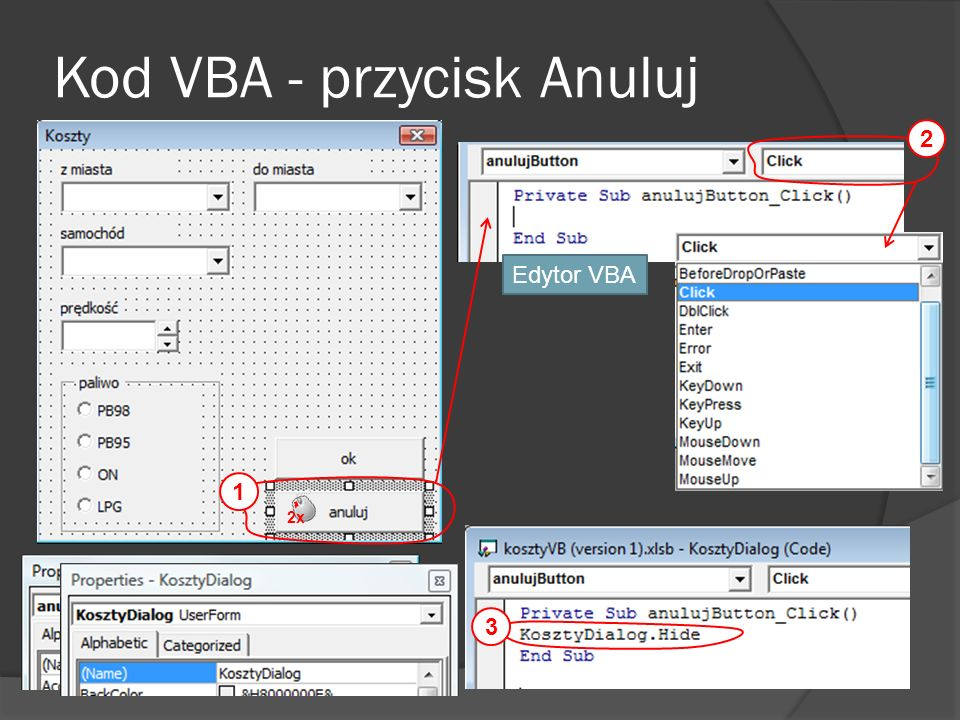 Kod VBA - przycisk Anuluj