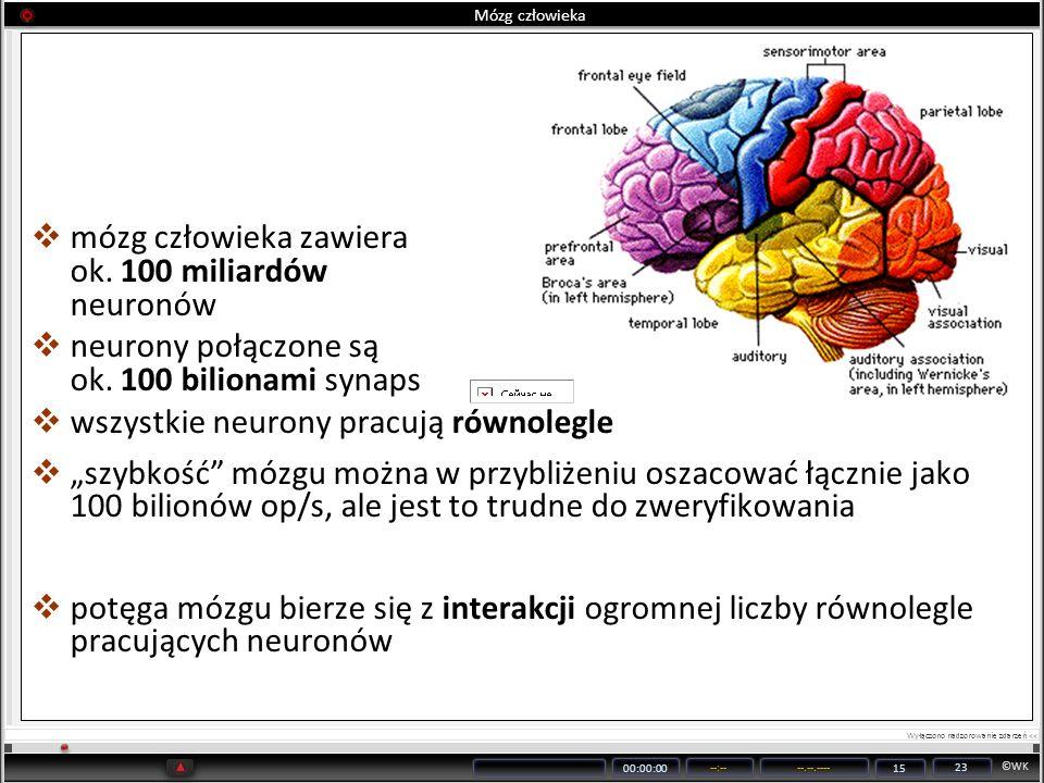 mózg człowieka zawiera ok. 100 miliardów neuronów