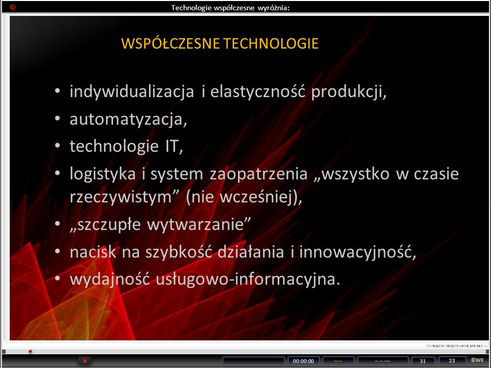 Technologie współczesne wyróżnia: