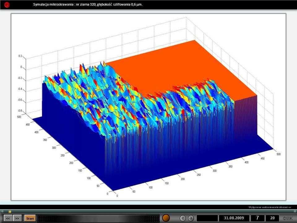 Symulacja mikroskrawania : nr ziarna 320, głębokość szlifowania 0,6 mm.
