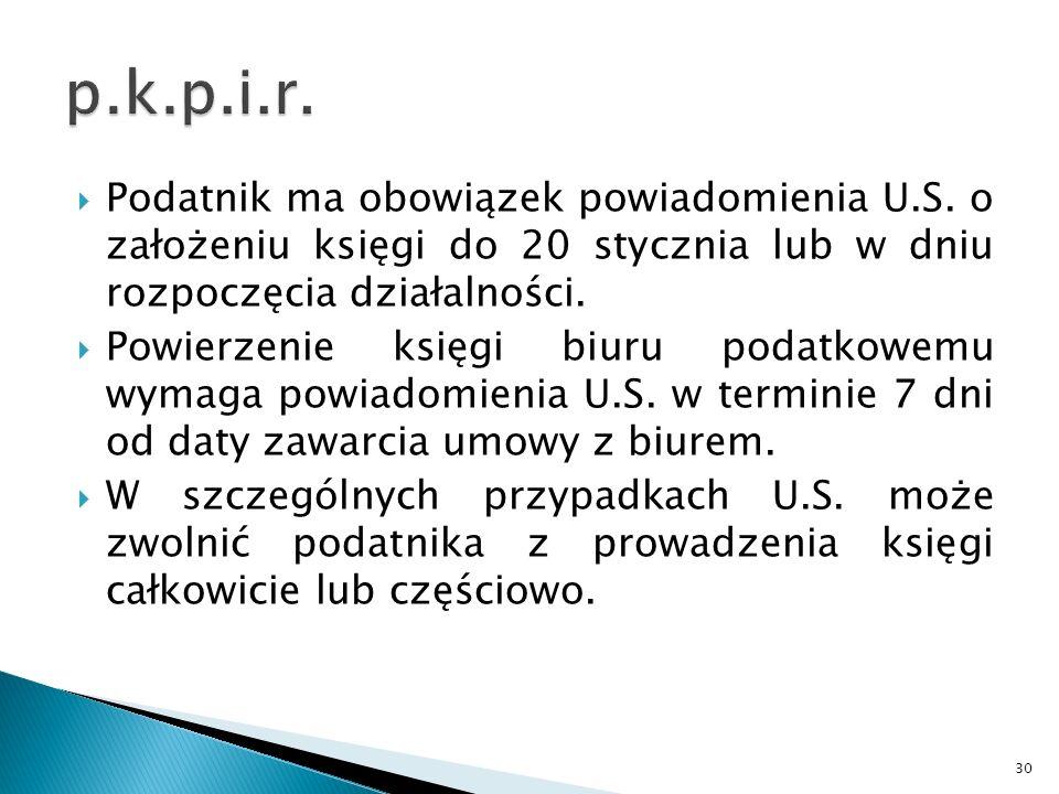 p.k.p.i.r. Podatnik ma obowiązek powiadomienia U.S. o założeniu księgi do 20 stycznia lub w dniu rozpoczęcia działalności.