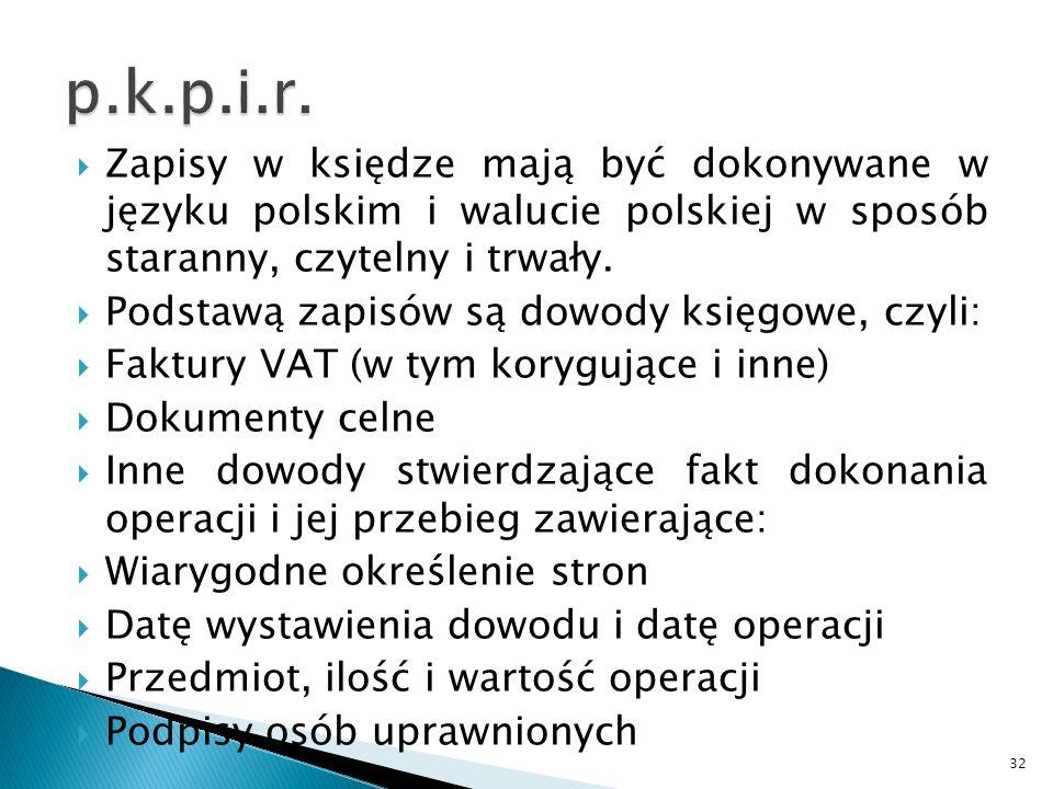 p.k.p.i.r. Zapisy w księdze mają być dokonywane w języku polskim i walucie polskiej w sposób staranny, czytelny i trwały.