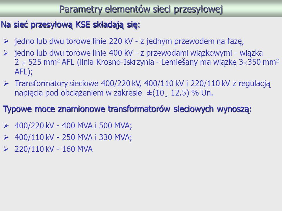 Parametry elementów sieci przesyłowej
