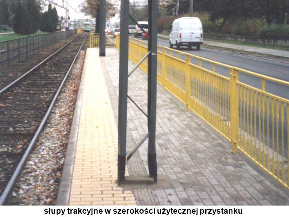 słupy trakcyjne w szerokości użytecznej przystanku