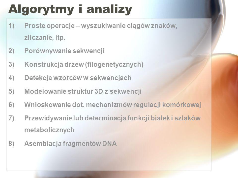 Algorytmy i analizy Proste operacje – wyszukiwanie ciągów znaków, zliczanie, itp. Porównywanie sekwencji.