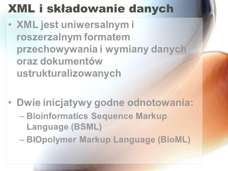 XML i składowanie danych
